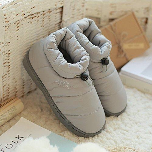 DogHaccd pantofole,In autunno e in inverno le coppie parenting, pantofole per uso domestico e acqua all'anti-slittamento pantofole di cotone pantofole caldi Warm uomini grigio3