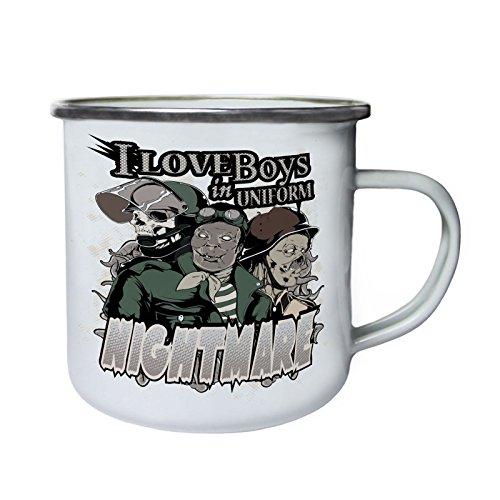Ich liebe Jungs in Uniform Nightmare Monsters Retro, Zinn, Emaille 10oz/280ml Becher Tasse w960e (Uniformen Zinn)
