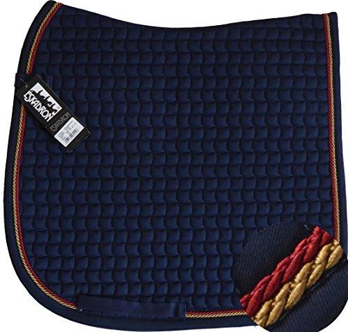 ESKADRON Cotton Schabracke navy, 2fach Kordel goldfarben/dark red, Form:Dressur