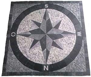 Marmor rosone 90x90 cm kompass windrose naturstein mosaik - Bodenfliesen stein ...