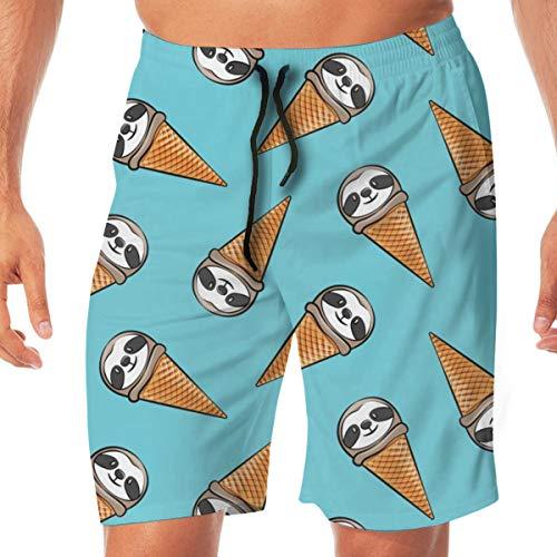 Pipaxing Sloth Icecream Cones - Werfen auf Blue_36 Männer Badehose Surfen Strand Urlaub Party Badehose Strandhosen L -