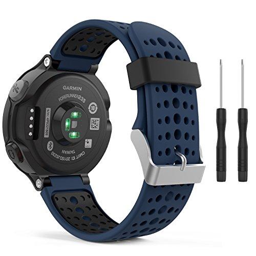 MoKo Garmin Forerunner 235 Smartwatch bracelet, Watch Band flexible en silicone avec des outils pour Forerunner 235/220/230/620/630/735 Montre de Running GPS avec Cardio au Poignet, Bleu Nuit et No