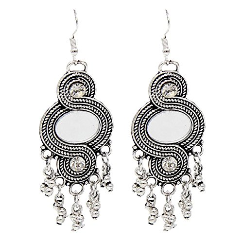 Fashion Oxidised German Silver dangler Hook Mirror Earring  available at amazon for Rs.135