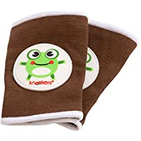 Kneekers Knee Pads for Crawling Babies (Hoppy Frog in Brown/Large)