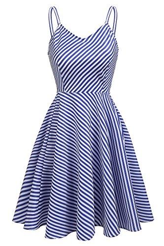 Meaneor Damen Vintage Kleid Sommer Gestreiftes Kleid Trägerkleid V-Ausschnitt A Linie Kleid mit Hoher Taille Partykleid Strandkleid Knielang blau weiss gestreift (Blau Kleid Shirt Gestreiften)