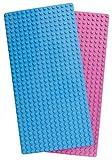 Unbekannt Play Builds Baseplate Brick Set - 2 Pezzi - 10 x 20 pollici Piastre base - compatibile con Lego Duplo Building Blocks e le marche più diffuse - Età consigliata 3+