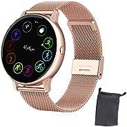 ساعة ذكية للنساء ، أجهزة تتبع اللياقة البدنية IP67 مقاومة للماء سوار بلوتوث ذكية ، معدل القلب و ضغط الدم مراقب