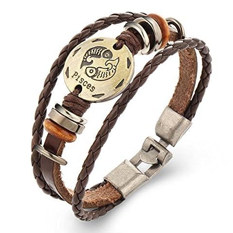 Mxixi Vintages Mens-Frauen Retro- Punk handgemachtes Leder 12 Konstellation-Tierkreiszeichenarmband-Legierungscharmearmband mehrschichtiges Armbandarmband (Fische)