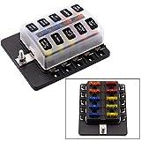 YGL Caja de Fusibles 10 Vías Portafusibles con Lámpara de Alerta LED Kit para Coche Barco Marino Triciclo 12V 24V