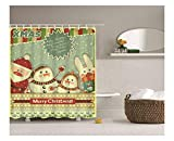 Daesar Polyester-Stoff Badezimmer Duschvorhang 150x200 Weihnachten Theme Badvorhang Anti-Schimmel
