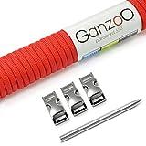 Ganzoo Paracord 550 SET, Armband, Hundeleine oder Hundehalsband zum selber machen; Seil mit 4mm Stärke, Verschluss aus Metall (3/8