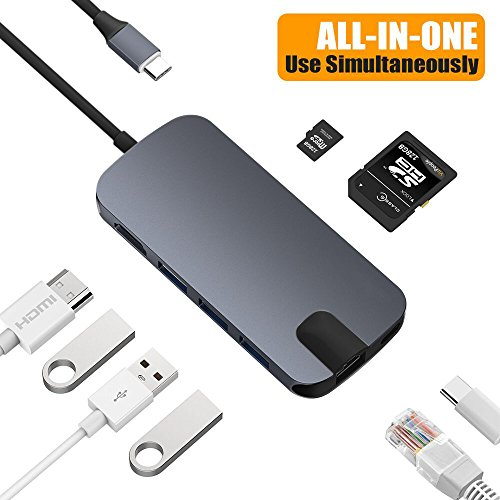 Snowkids USB C Hub USB C Adapter mit USB C Ladeanschluss,Micro SD-Kartenleser,RJ54 Gigabit Ethernet,HDMI 4K,3 USB 3.0 Ports für Laptop MacBook2016/2017,MacBook Pro,Mac Mini,Chromebook und mehr-Grau (Firewire-usb-hub)