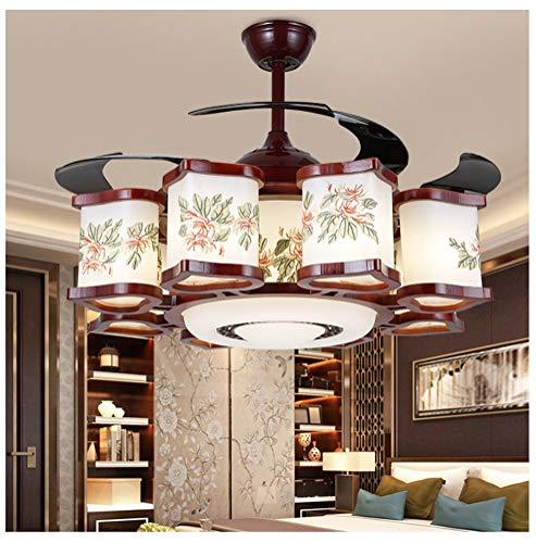 Shirley's home cinese ventilatore luce invisibile ristorante ventilatore a soffitto luce soggiorno lampada muto con luci a led casa in legno retrò lampadario lampadari, lampade a sospensione e plafoni