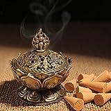 XIDUOBAO Lotus Flower Incense Burner Alloy Metal Buddha Incense Burner Holder Candle Holder Censer- Buddhist Decor,Home Decoration. (Large)