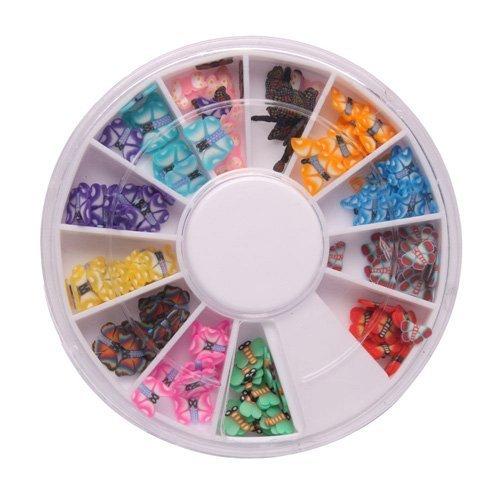 arte del chiodo del - SODIAL(R) 144 pz 12 colori farfalla 3D Nail forma di arte Fimo fetta fette della decalcomania pezzi di arredamento / Wheel