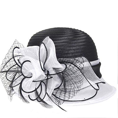 VECRY Damen Organza Hut Eichen Kirchen Derby Kleid Eimer Hüte (Weiße Satin Derby Hat)