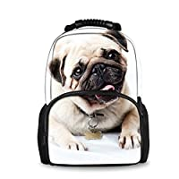 HUGS IDEA Pug Printing Backpack for Teenagers Girls Cute Kids School Bag Bookbag Womens Laptop Daypack