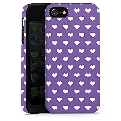 Apple iPhone X Silikon Hülle Case Schutzhülle Herzchen Rockabilly Lila Tough Case matt