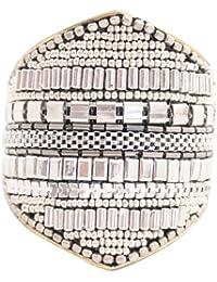 Marc Labat - 14E25 - Tribal - Bracelet Manchette Femme - Métal argenté - 17 cm