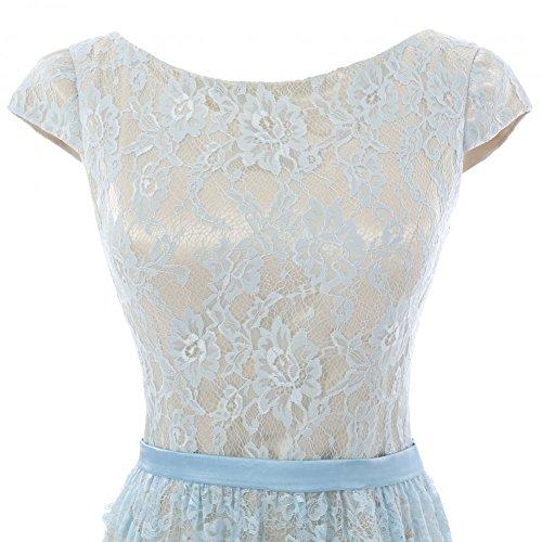 YiYaDawn Asymmetrisches Spitzenkleid Abendkleid für Damen Hellblau