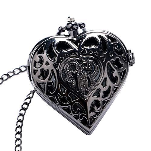 JHYMM Taschenuhr Schwarz Herzform Halskette für Damen Frauen mädchen Freund Quarz taschenuhr Mode anhänger Uhr Kette Geburtstagsgeschenk Uhren