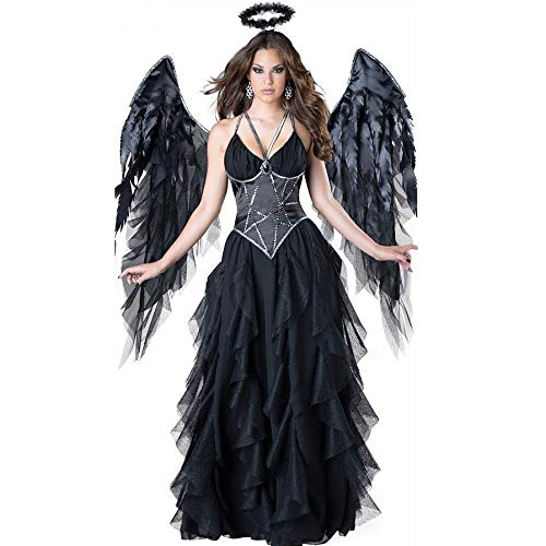 Dress Fancy Kostüm Angel - POIUYT Damen Halloween Kostüm Cosplay Schwarze Strumpfhose Vampire Ghost Devil Dark Angel Kostüme Adult Fancy Dress Party Über Performance Items Hinaus - Enthält: Stirnband + Flügel + Maxikleid,Black