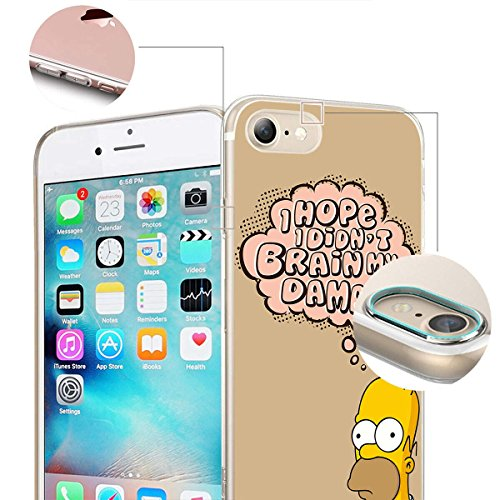 finoo |Iphone 7 Weiche flexible lizensierte Silikon-Handy-Hülle | Transparente TPU Cover Schale mit Simpsons Motiv | Tasche Case mit Ultra Slim Rundum-schutz | Simpsons Familie 01 Homer Brain Damage