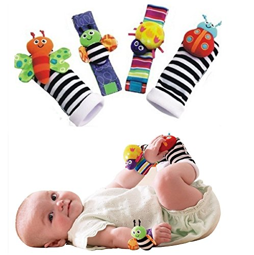 Kuhu Creations Cute & Stylish Soft Baby Rattles. (4 Units, Style D: Multicolor 2 Wrist & 2 Foot Rattle)