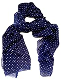 #4: Vanilla scarf for women stoles for girls fancy hijab for women stylish ladies navy blue polka dots scarf combo hijab scarf pins