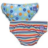 Vital Innovations Bambino Mio 2SWJXL-BS-OS - Pañal bañador (tamaño grande, 2 unidades) diseño de lunares y rayas, color azul y naranja