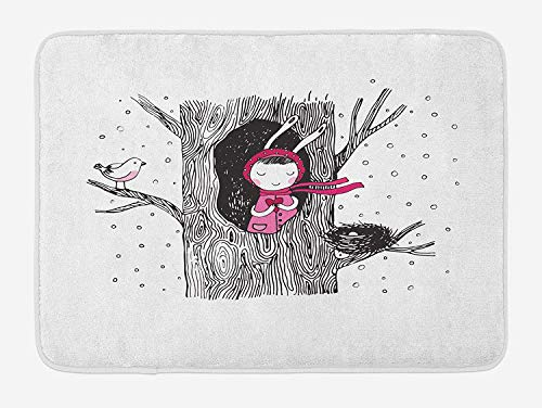 Icndpshorts Tree Bath Mat, Little in The Tree Hollow Holding a Heart Bird and Nest in Winter Snowfall, Plush Bathroom Decor Mat with Non Slip Backing, 23.6 x 15.7 Inches, Black White and Pink Combo Winter Liner