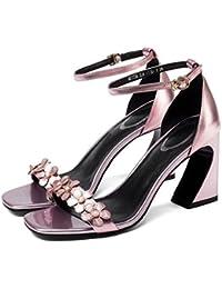 GAOLIXIA Damen Damen Sommer Sandalen Chunky Heel Open-Toe Blumen Leder High Heels Pumps Pumps