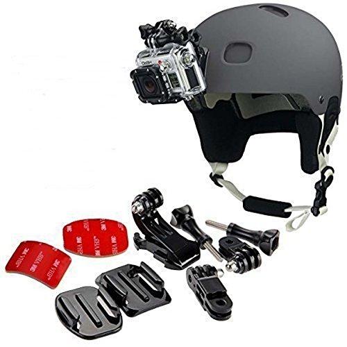 micros2u GoPro Helm, Halterung vorne + Seite, inkl. J-Haken-Schnalle, Schnellverschluss, 3M Klebepads für GoPro Hero 6, 5, 4, 3, 2, Session Action Kamera, Sportkamera, Helmkamera