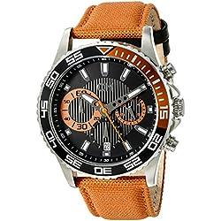 Carlo Monti Avellino Men's Quartz Watch with Black Dial Chronograph Display and Orange Fabric Strap CM509-124A