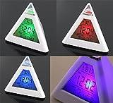 Temperatura 7 colori LED Modifica LED Backlight LED Sveglia Piramide ALISIAM (bianca)