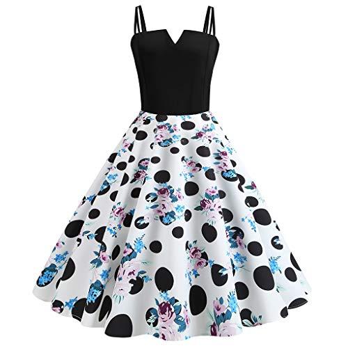 Sommerkleid Damen Lang Schulterfrei 1950er Vintage Polka Dots Pinup Retro Rockabilly Kleid...