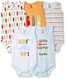 Luvable Friends Baby 5-Pack Lightweight Sleeveless Bodysuits, Surfer, 6-9 Months