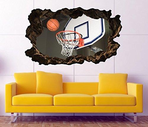 Preisvergleich Produktbild 3D Wandtattoo Sport Basketball Ball Korb Bild selbstklebend Wandbild sticker Wohnzimmer Wand Aufkleber 11H998, Wandbild Größe F:ca. 140cmx82cm