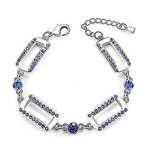 City Ouna® bijoux de mariage cristal nouveauté bijoux fermoir charmes rectangulaire forme pourpre lien Bracelet bracelet en cristal pour Fashion femmes Gilrs