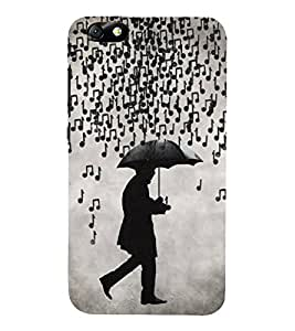 FUSON Musical Notes Rain 3D Hard Polycarbonate Designer Back Case Cover for Huawei Honor 4X :: Huawei Glory Play 4X
