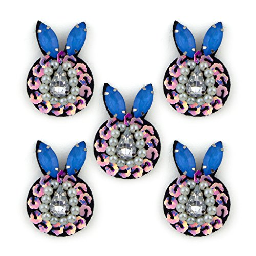 No.23 Bunny Forma paillettes, perline e Diamante Cucire pezzi speciali - abbellimenti per Abbigliamento, Accessori - Confezione da 5