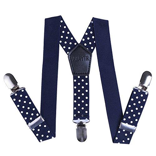 Mädchen Hosenträger Elastisch Einstellbare Clip-On Hosenträger (65cm(3 Jahre-8 Jahre), Navy blau Polka-Punkt) (Jungen Clip-on-krawatten)