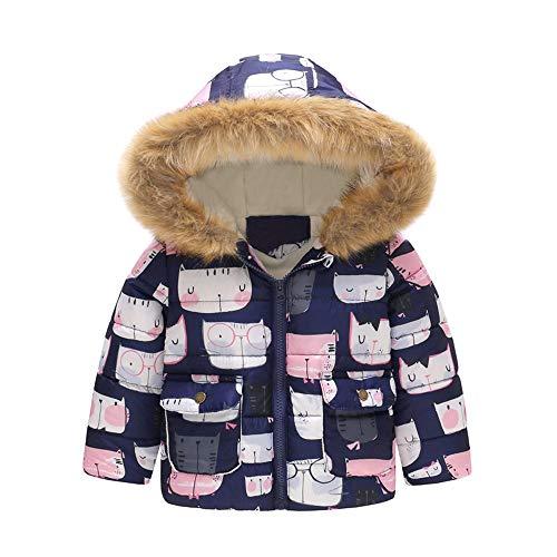 YanHoo Algodón Engrosamiento Chaqueta Chaqueta a Prueba de Viento de algodón de Manga Larga con Capucha de Felpa con Capucha de algodón cálido de otoño e Invierno para niños