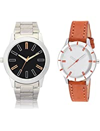 Briota Analogue Black & White Dial Watch For Couples Pack Of 2-306BRT