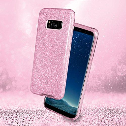 EGO ® Hülle Glitzer Schutzhülle für Samsung Galaxy S8 G950, Pink Back Case Bumper Glänzend Transparente TPU Bling Weiche Glamour Handy Cover Lipgloss Pink