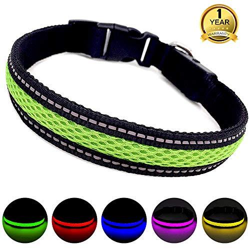 Breite Drei Licht (MASBRILL Leuchthalsband für Hunde aufladbar LED hundehalsband Blinkende Lichter mit USB verstellbar 3 Modells (L, Grün))