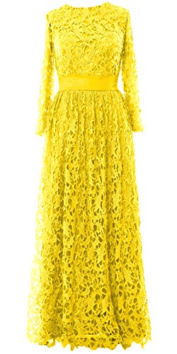 MACloth - Robe - Trapèze - Manches Longues - Femme Jaune - Jaune