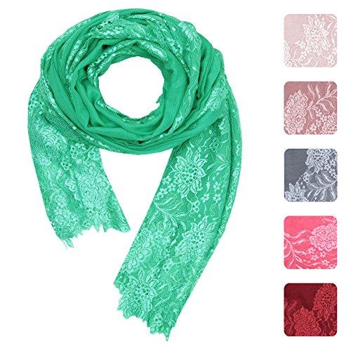 KASHFAB Kashmir Echarpe en dentelle de mode hiver pour femme, écharpe en cachemire en soie de laine, châle long et doux, Pashmina chaud Vert