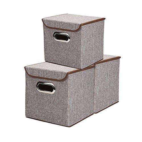 Leinenstoff Faltbare Lagerung Würfel Bin Box Container mit Deckel Schubladen (3 Packs of S( 9.8 x 9.6 x 9.6 inches), Grau) (Leinwand-storage-würfel)