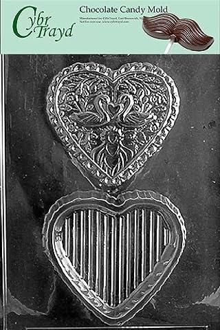 Cybrtrayd W032 Swan Heart Pour Box Wedding Chocolate Candy Mold by CybrTrayd